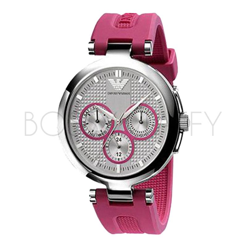 AR0737 ARMANI 亞曼尼 時尚大錶盤桃紅色橡膠帶三眼白色石英錶 女錶