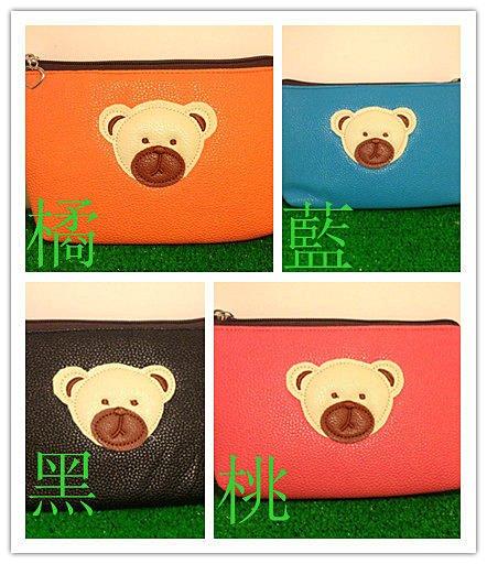 =優生活=韓國熊熊 熊頭雙拉鍊多功能手機袋 手機包 小側背 錢包 化妝包