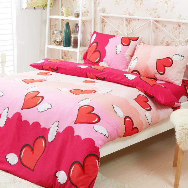柔絲絨 鋪棉兩用被床包組 加大四件式-天使之戀/ 哇哇購