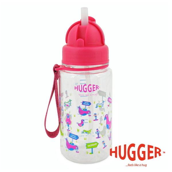 【英國 Hugger】Tritan 彈跳吸管水壺 - 歡樂鳥