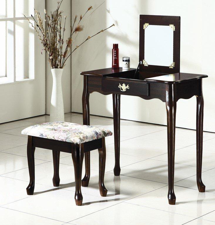 【石川家居】OU-662-12 胡桃實木化妝台+椅 (不含其他商品) 需搭配車趟