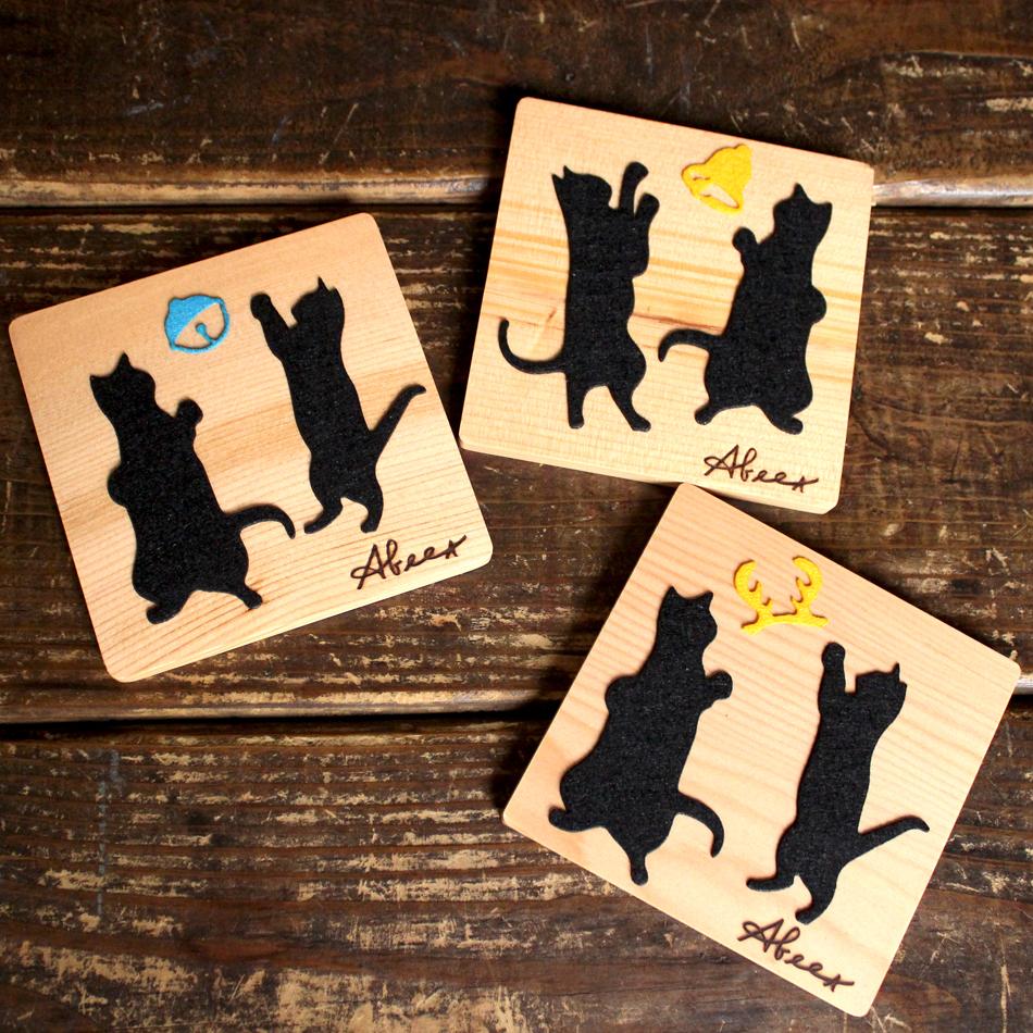 貓咪派對 [ ABEET 原木吸水杯墊 ] 療癒系 開心生活小物 , 請多多支持領養替代購買哦~~~~