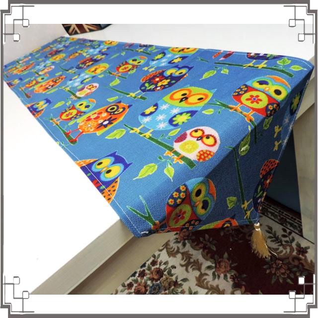 棉麻桌旗《33X180-24》滿版貓頭鷹桌旗巾 桌布 桌巾 桌墊 三角桌巾 ZAKKA風家飾◤彩虹森林◥