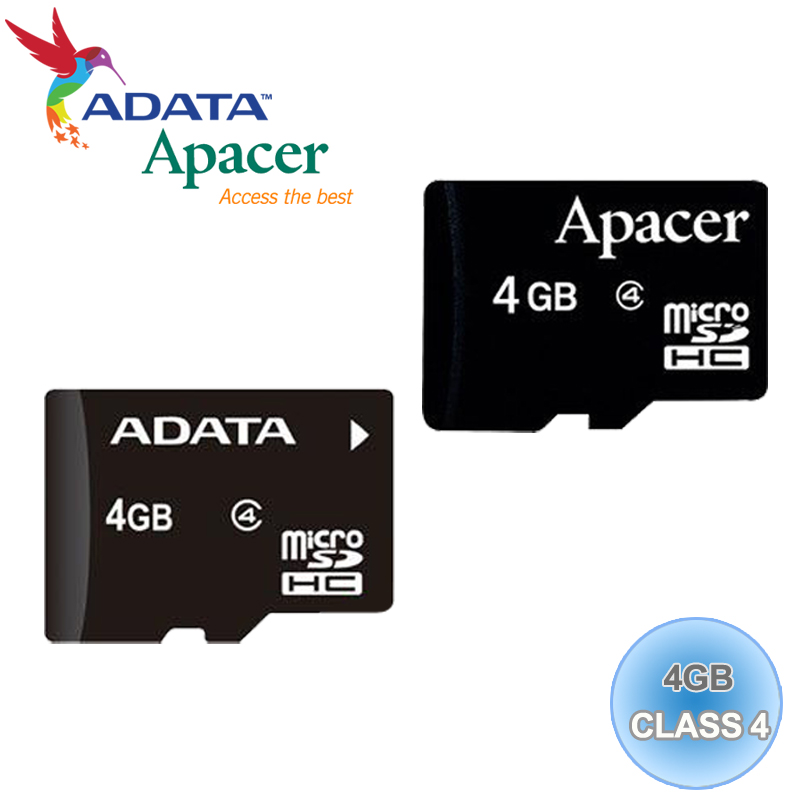 ADATA 威剛/Apacer Micro SD/T-Flash 4G/TF 4GB/CLASS 4 記憶卡 隨機廠牌出貨