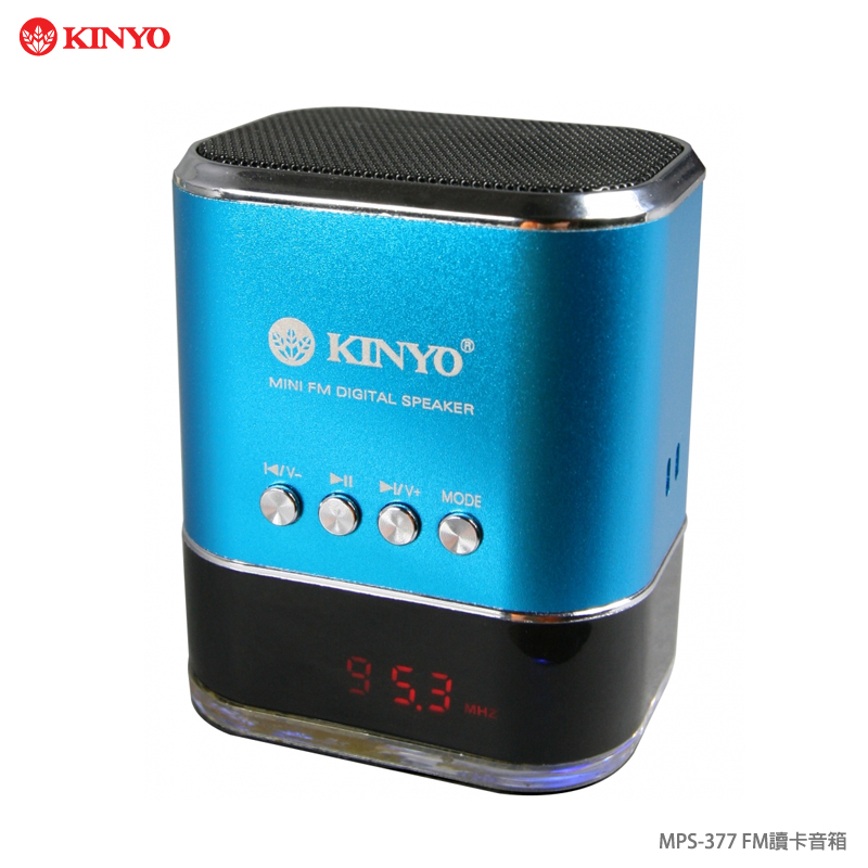 KINYO 耐嘉 MPS-377 FM 讀卡音箱/喇叭/音樂播放/無線音箱/插卡式/MP3/LED 顯示螢幕/AUX 音源線