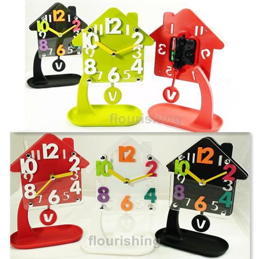 糖果色收納座鐘/房屋造型/立體數字座鐘/時鐘/擺鐘/可愛造型/3D HOUSE/房子造型/搖擺座鐘/辦公室/裝飾/創意居家/送禮