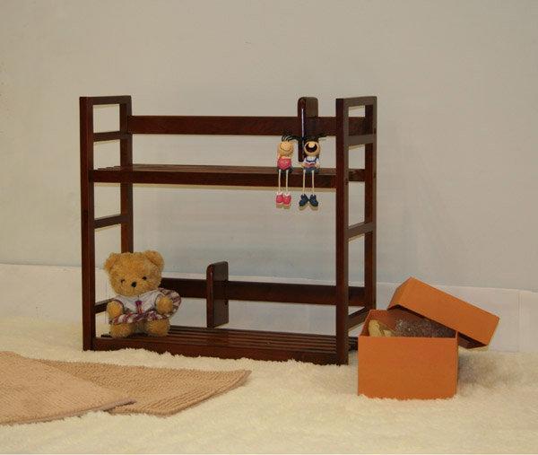 生活大發現-和風實木雙層書架/雜誌架/桌上型書架/置物架/此為胡桃下標區