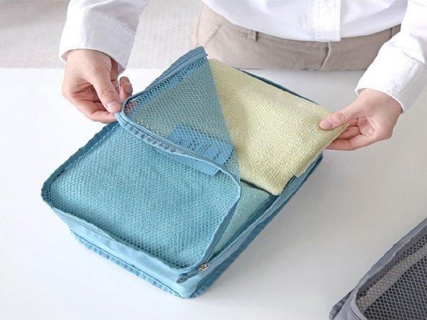 BO雜貨【SV6166】韓版 旅行出差衣物收納袋 旅行箱分類網格整理袋 大L