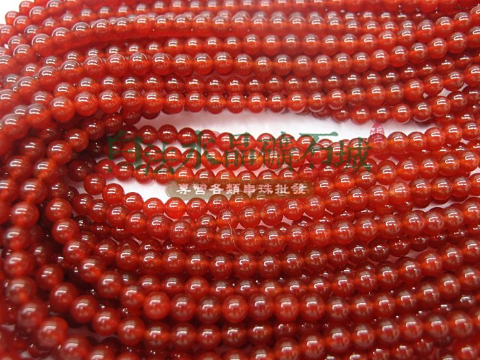 白法水晶礦石城     紅玉髓  紅瑪瑙 6mm 色澤-全紅 特級品  串珠/條珠  首飾材料
