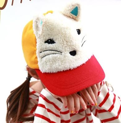 Lemonkid◆春秋冬可愛動物造型狐狸立體耳朵兒童鴨舌帽-紅色
