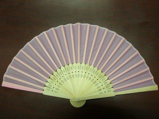 8英吋淺粉紅色絹布 空白扇子 彩繪扇子 20.5cm 手繪扇(日本扇子.小摺竹片單面絹布)/一支入{定30}