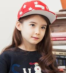 Kocotree◆時尚可愛韓系純色小花朵印花造型質感兒童鴨舌帽休閒運動棒球帽-紅色