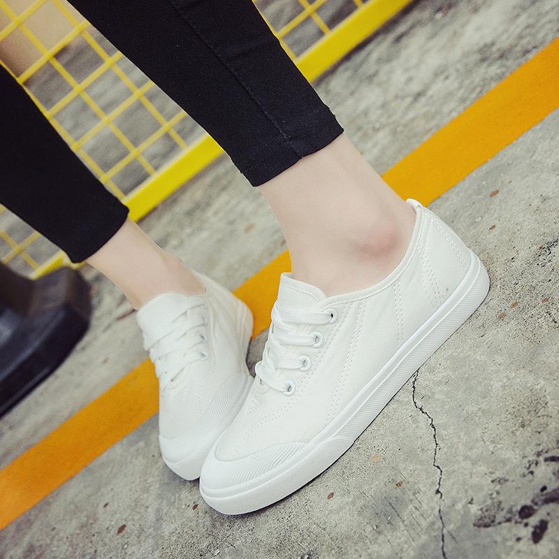 2016新款小白鞋女鞋貝殼頭帆布鞋女鞋休閒韓版低筒平底綁帶經典百搭韓國牛仔藍黑白