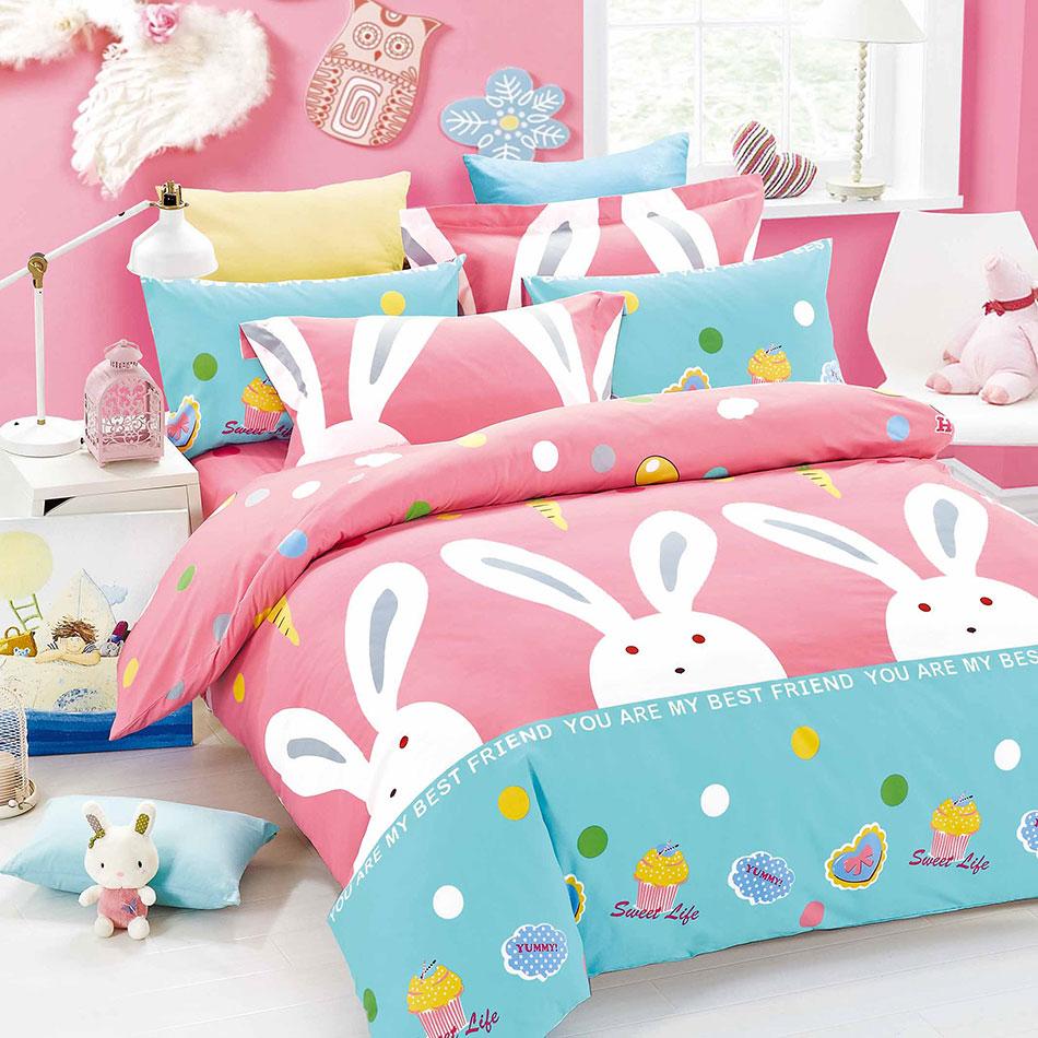 【大頭兔兔】天鵝絨輕柔棉床包組