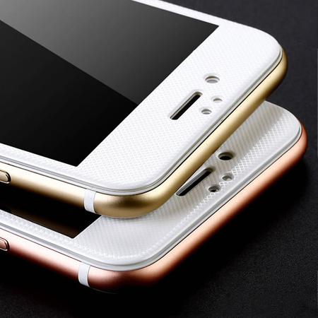 iPhone 6 6s Plus 網格觸感碳纖維軟邊 鋼化玻璃膜 保護貼 超薄 弧面 滿版 全屏【N201459】