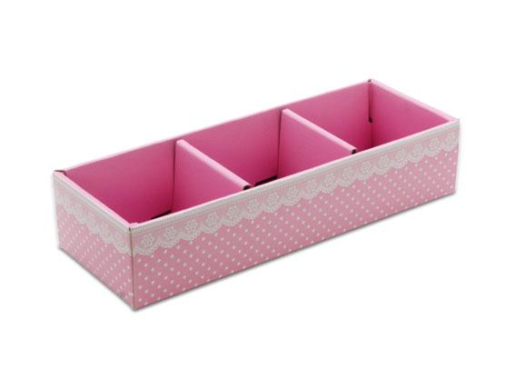 外帶盒、紙盒、包裝盒 3格 G17336-1(粉底白點花邊)5 pcs含透明盒、附內格