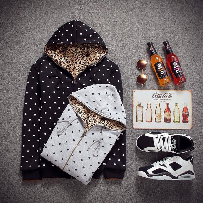 50%OFF【A010205C】點點豹紋二面穿夾克外套 長T棒球外套夾克外套風衣外套GD EXO