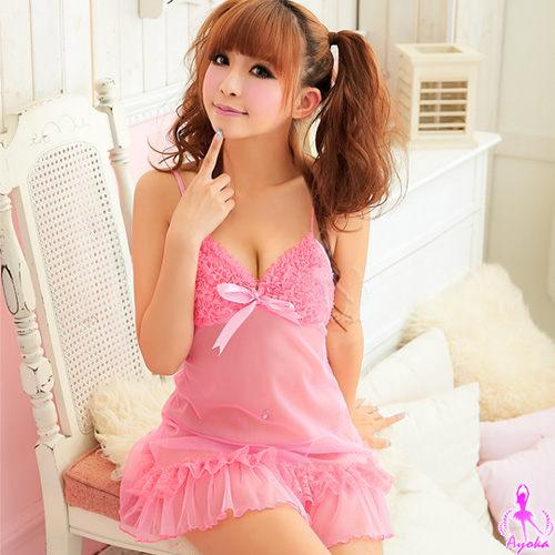 愛的蔓延 粉紅少女!柔紗二件式睡襯衣 性感睡衣 情趣睡衣 12020035