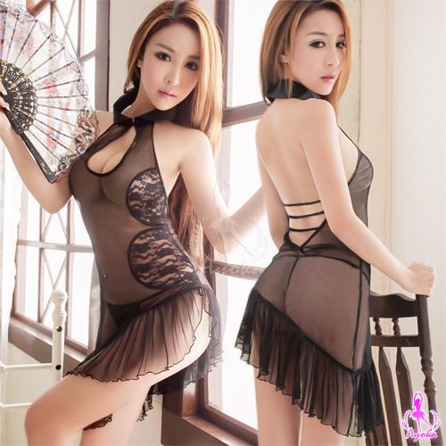 愛的蔓延 黑美人!性感黑露背薄紗旗袍角色扮演服 COSPLAY SNA14030015