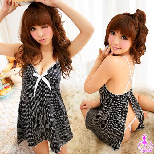 愛的蔓延 少女時代!後開襟二件式緞面性感睡衣睡襯衣 UNA-11030201