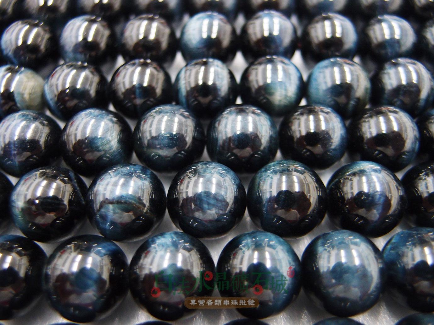 白法水晶礦石城 南非 天然-虎眼石-藍色 12mm 礦質-漂亮珠子 藍色暈光明顯- 串珠/條珠 首飾材料