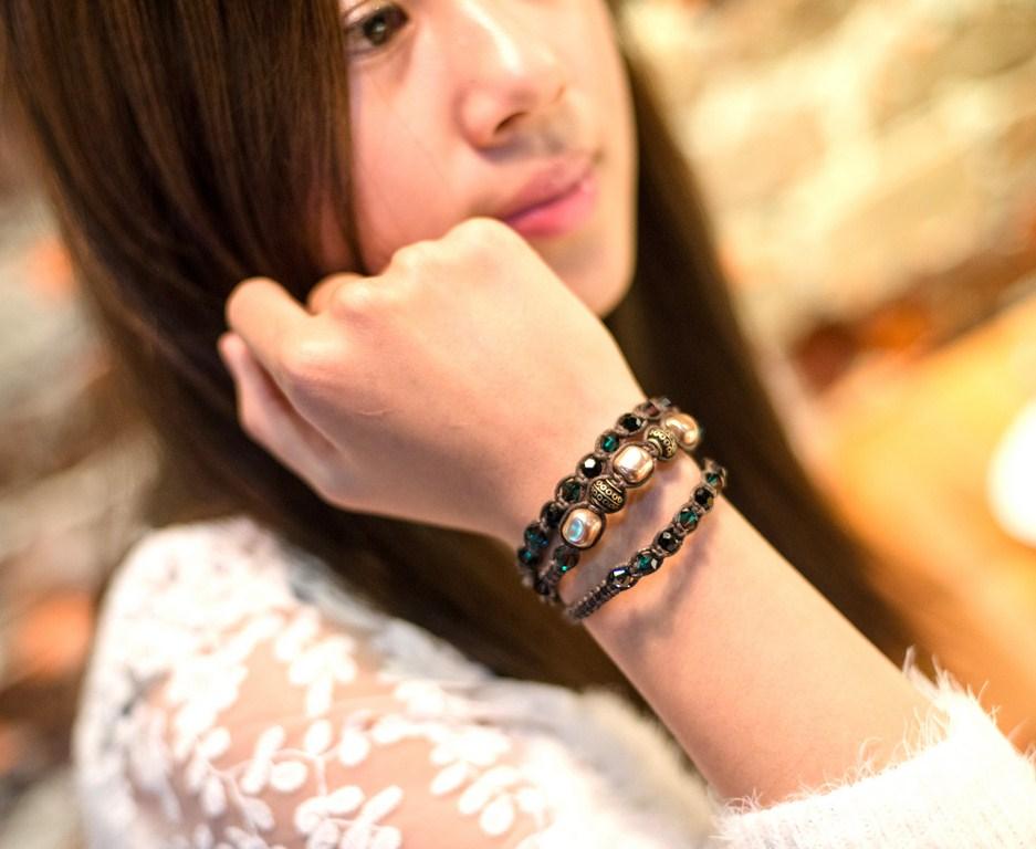 手工飾品設計 天然石編織系列-咖啡色珍珠祖母綠水晶手環