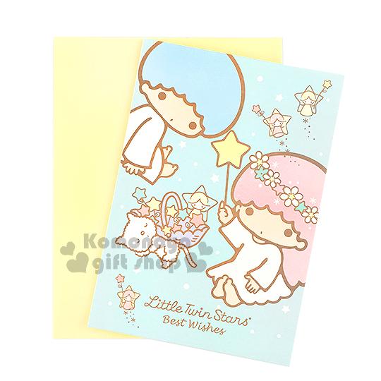 〔小禮堂〕雙子星 萬用卡片《藍.貓咪.天使.星星》附信封