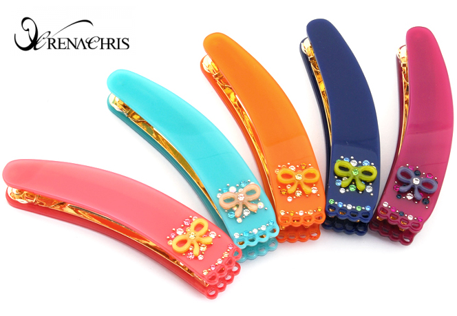 BHI1053-法國品牌RenaChris 施華洛世奇晶鑽可愛蝴蝶結髮夾 馬尾夾 香蕉夾【韓國製】