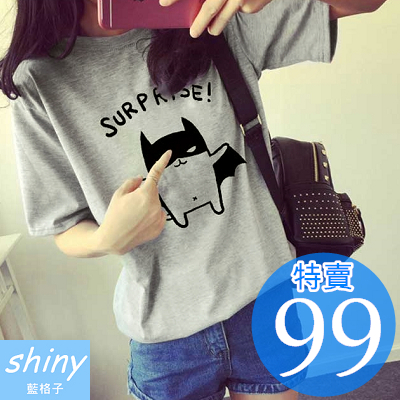 【D966】shiny藍格子-可愛春感.卡通蝙蝠俠圓領寬鬆短袖T恤