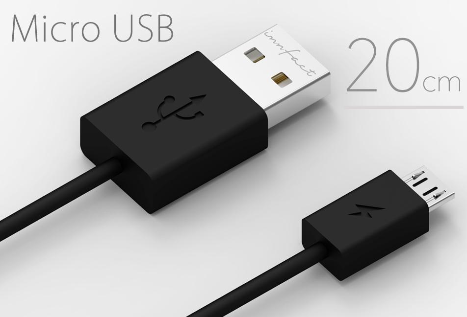 黑色款-橘色閃電 Micro USB 快速充電線20cm