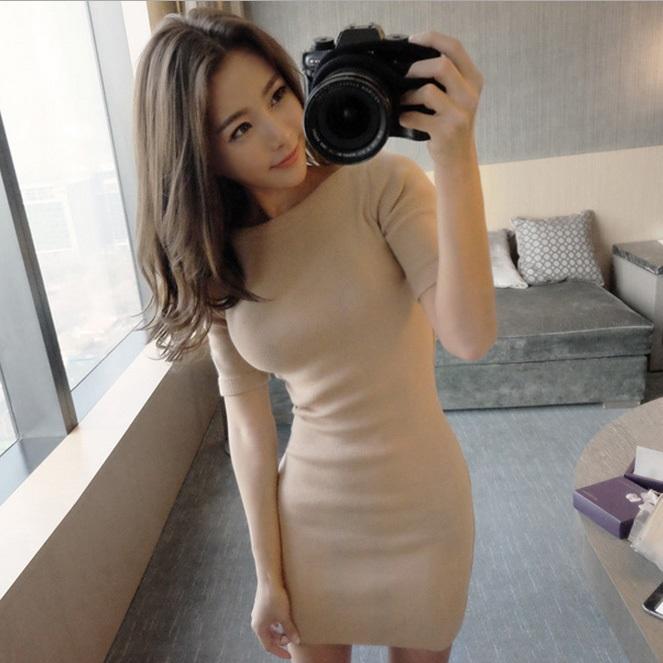 PS Mall 休閒一字領純色短袖針織修身包臀短裙連身裙 洋裝【T4356】