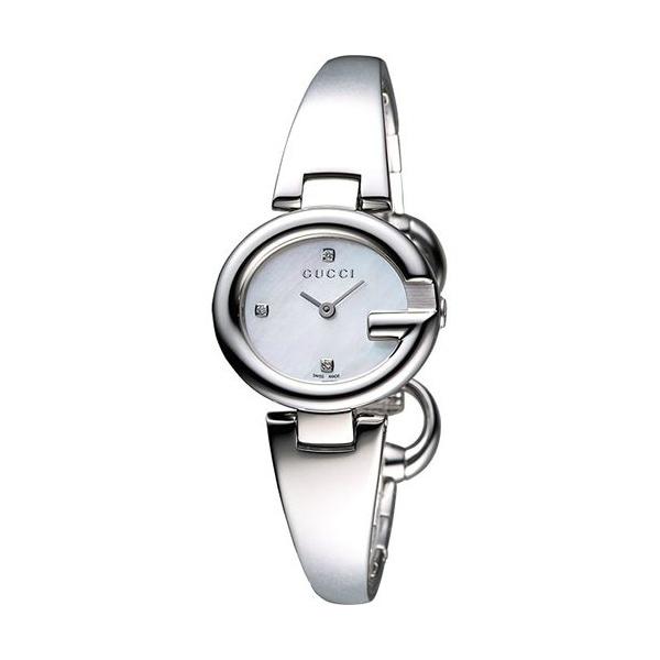 Gucci YA134504美鑽經典G型手環時尚腕錶/珍珠母面27mm