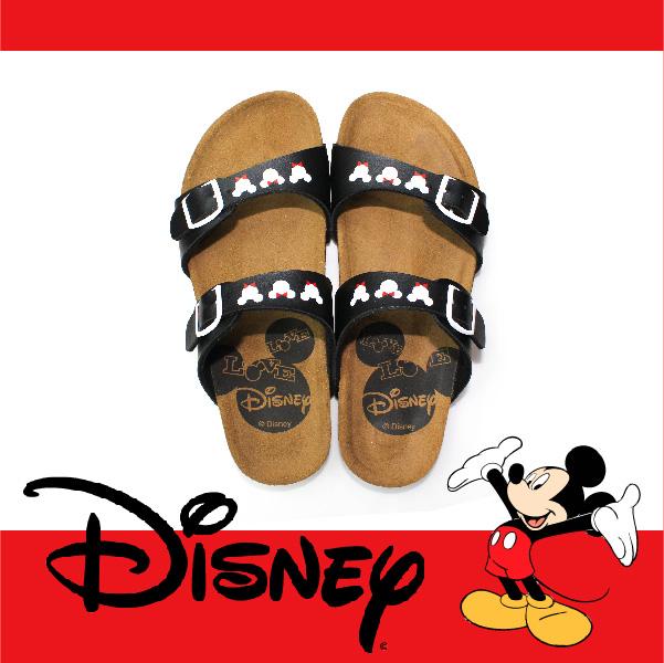 萬特戶外運動休閒 - 正版迪士尼勃肯拖鞋 可調式雙帶拖鞋 米奇米妮 親子款 (黑色)