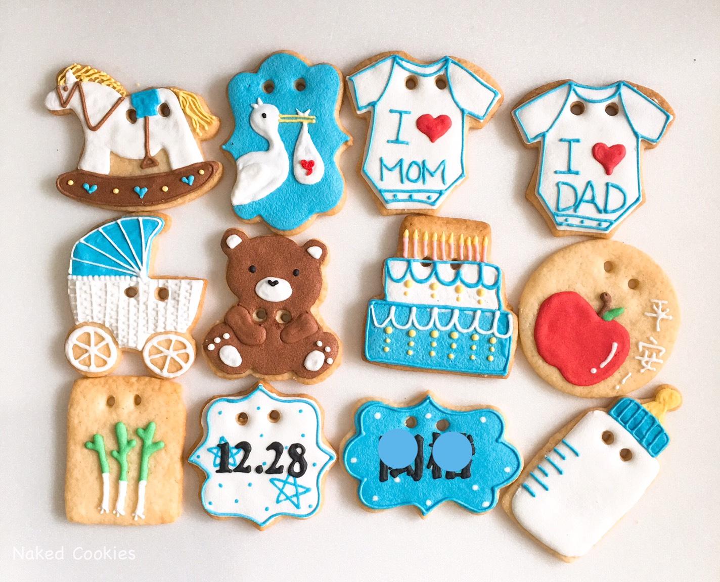 【裸餅乾Naked Cookies】男寶寶收涎12入(不挑款不挑色)-創意手工糖霜餅乾,婚禮/生日/活動/收涎/彌月
