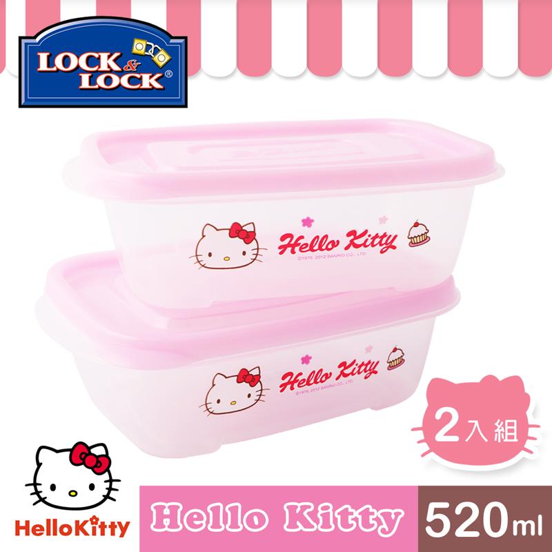 【樂扣樂扣】HELLO KITTY EZ Lock保鮮盒520ML-二入組