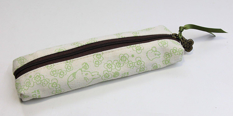 【真愛日本】 15041700040帆布長細拉鍊包-龍貓線條綠花   龍貓TOTORO豆豆龍 筆袋 鉛筆盒 收納 文具