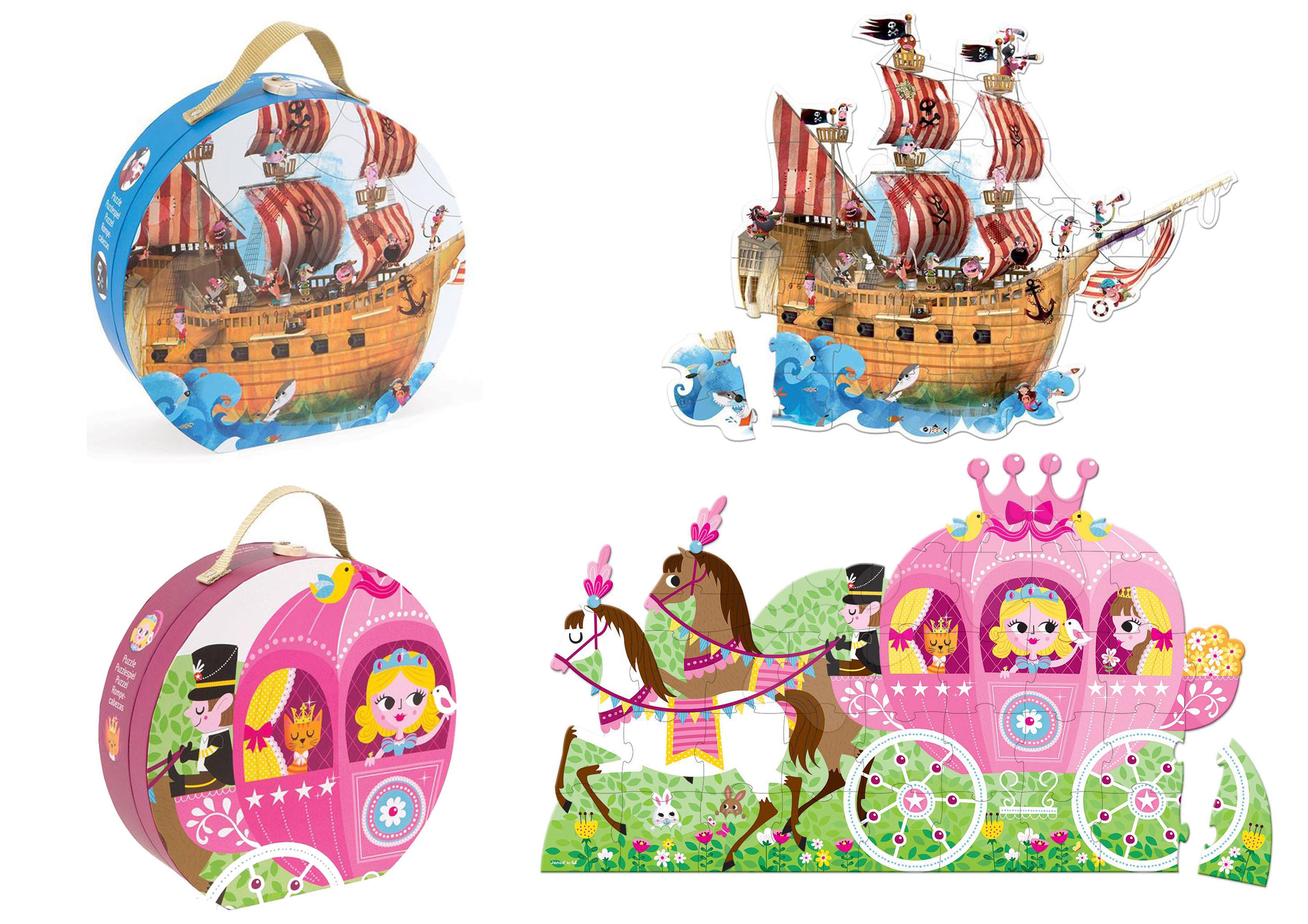 《★法國Janod》地板大拼圖 39片精美手提禮盒裝 - 公主與馬車或海盜船 美國代購 溫媽媽