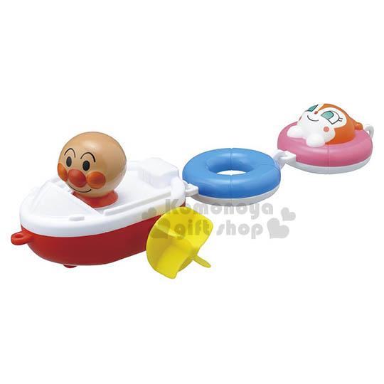 〔小禮堂嬰幼館〕麵包超人 賽艇船洗澡玩具《白.泳圈.朋友.泡殼裝》