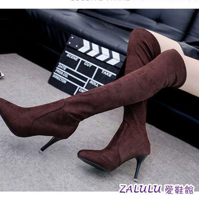 ☼zalulu愛鞋館☼ KE021 預購流行百搭素磨砂面細高跟尖頭長筒膝上靴-偏小-咖啡/灰/黑-36-39