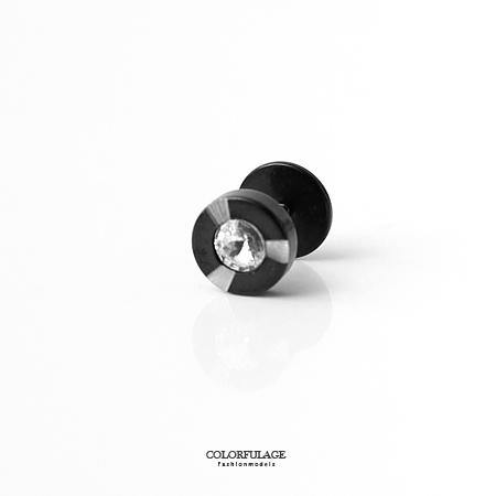 耳環 低調黑閃耀水鑽10MM鋼製耳針耳環 中性感實搭配件 柒彩年代【ND287】抗過敏材質