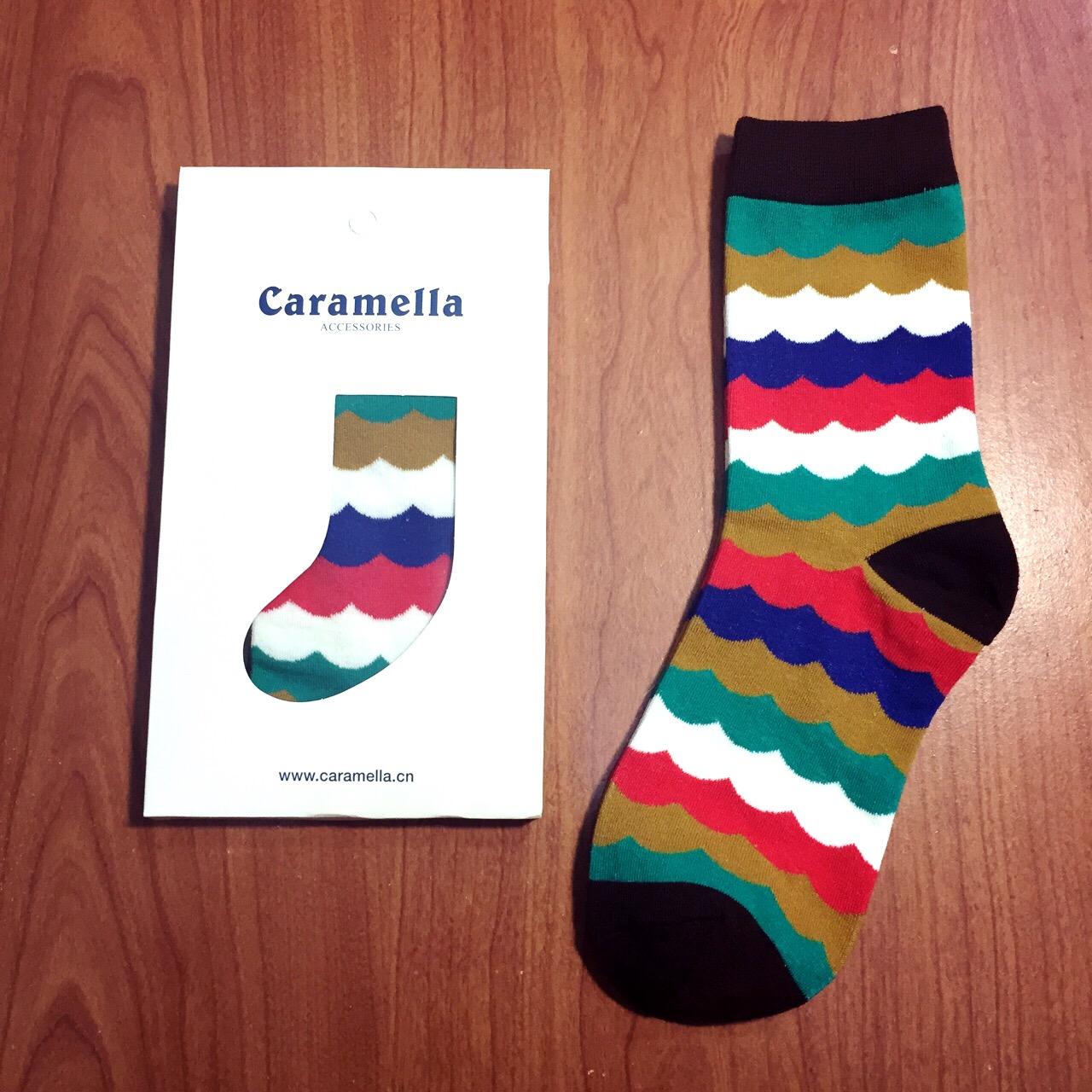 【開幕促銷】Caramella 波浪條紋 中筒襪 短襪 船襪 隱形襪 五指襪 文青情侶 運動穿搭 阿華有事嗎 C0001