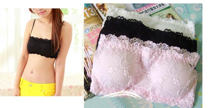 *來福*207全蕾絲內襯附胸墊抹胸小可愛內衣,1件直購55元,現貨+預購7-10