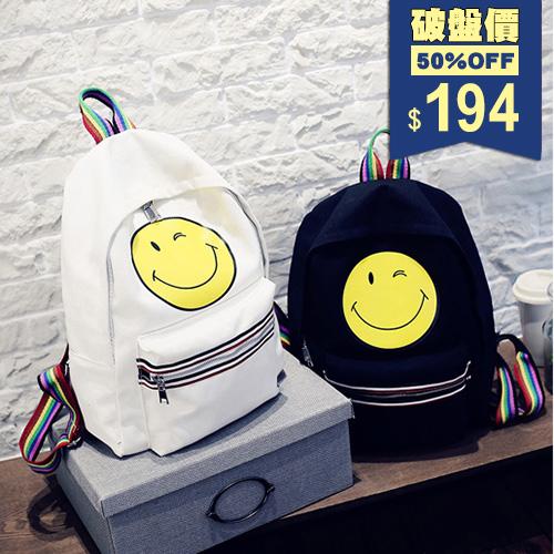 帆布卡通笑臉彩條後背包 手提包 包飾衣院 P1705 現貨+預購