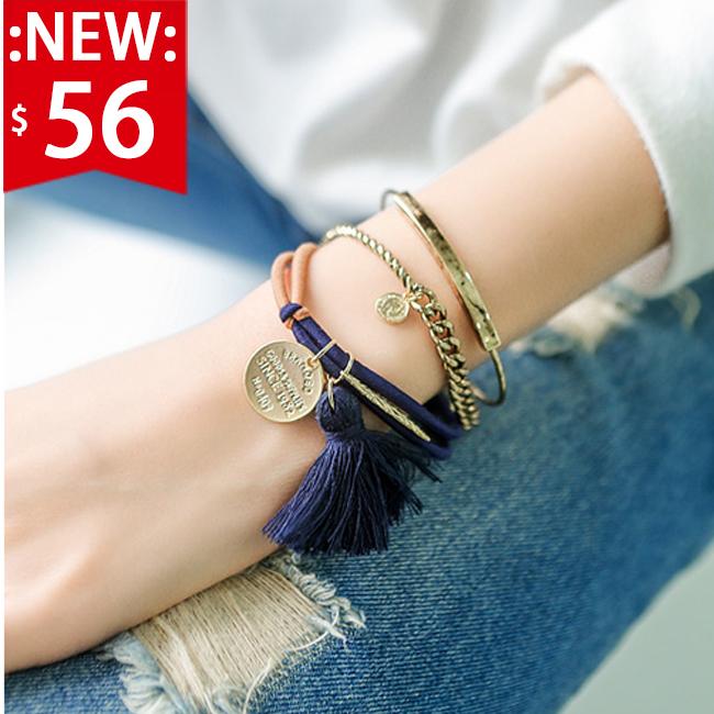 ❤瘋狂折扣五折56❤韓國流蘇雙繩結髮圈   金屬質感小吊飾   當手環搭配也好看【SM515HR】
