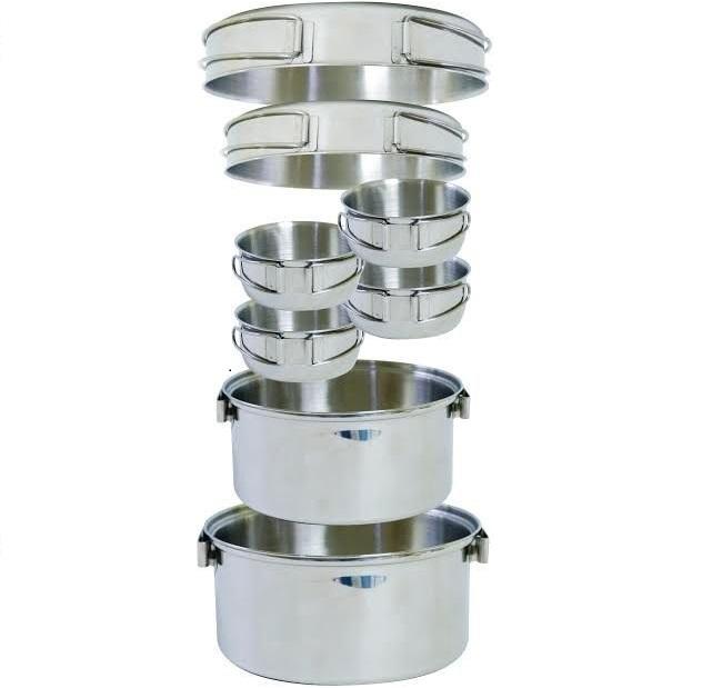 【露營趣】中和 附手電筒 犀牛 RHINO KS-45 4-5人不銹鋼輕便套鍋 四人鍋 湯鍋 平底鍋 煎盤 不鏽鋼碗