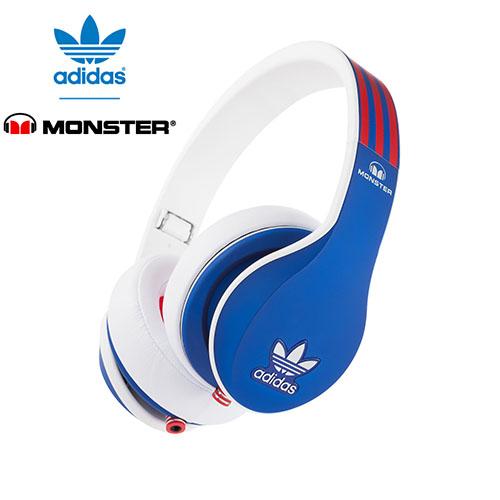 美國 Monster x adidas 聯名限量版耳罩式耳機(紅藍)公司貨,附保卡,一年保固