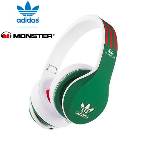 美國 Monster x adidas 聯名限量版耳罩式耳機(紅綠)公司貨,附保卡,一年保固