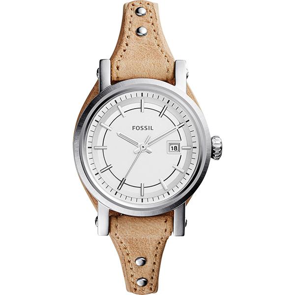 FOSSIL / ES3908 / 30mm真皮腕錶 銀色錶框淺咖 皮帶正品!!