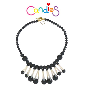 【Candies】冰川珍珠項鍊(黑)