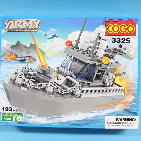 COGO積高積木 3325 巡邏艦積木 可與樂高混拼(中)約193片入/一盒入{促350}~CF120873~